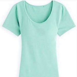 Tops - NWOT Mint green stretchy tee w built in bra